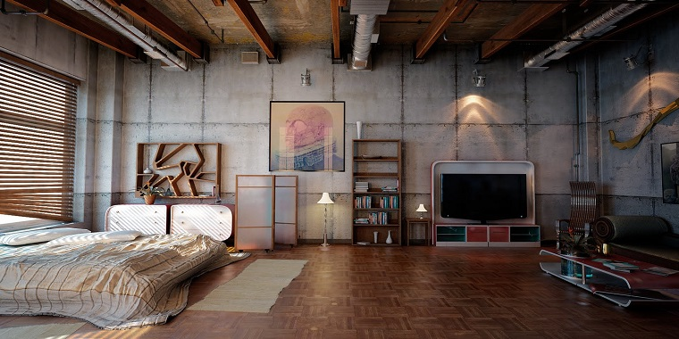 open-space-arredato-decorato-stile-industriale