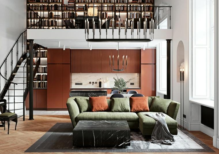 open space con soppalco divano verde con cuscini come arredare sala e salotto insieme