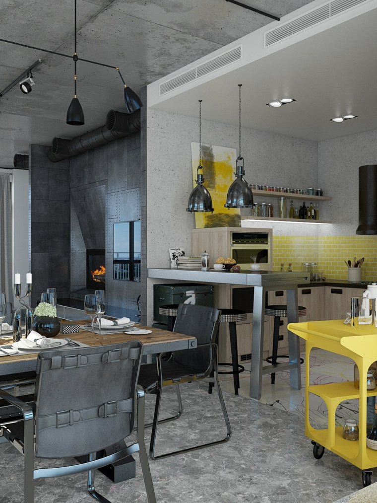 Mobili industriali vintage, cucina con isola laterale, tavolo da pranzo con sedie