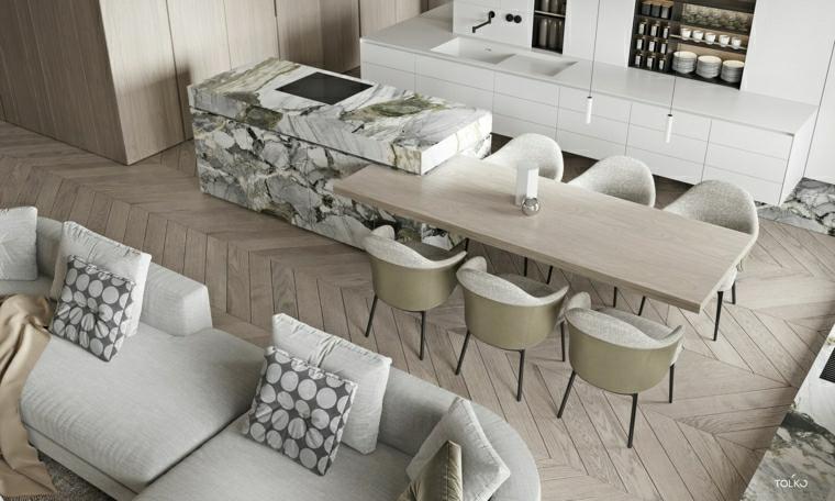 open space soggiorno sala da pranzo e cucina isola con rivestimento in marmo
