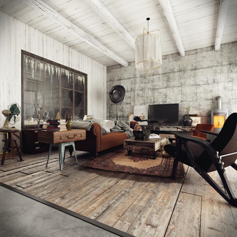Casa stile industriale moderno, soggiorno con parete in cemento, pavimento in legno con tappeto