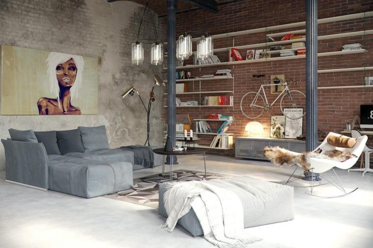 Mobili stile industriale, soggiorno con parete in mattoni a vista, divano angolare e tavolino rotondo