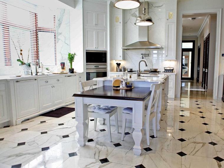 pavimento-marmo-arredo-cucina-elegante-stile-classico