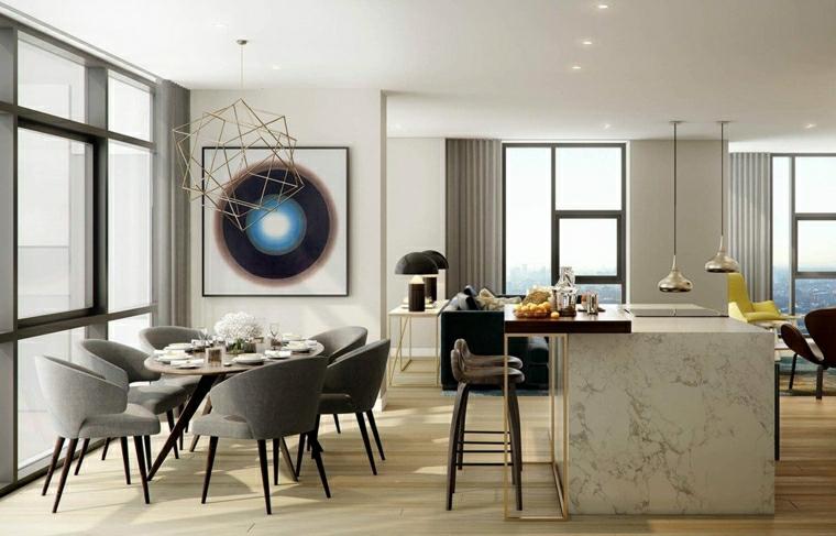 sala da pranzo e cucina insieme isola centrale con sgabelli alti open space con pareti bianche