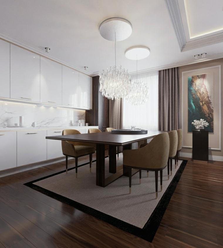 sala da pranzo e cucina insieme open space con pavimento in parquet tavolo da pranzo rettangolare