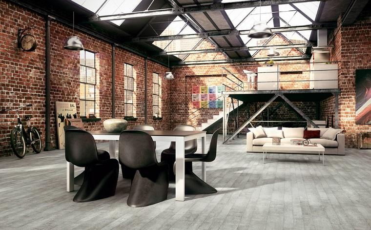 sala-da-pranzo-stile-industriale-pareti-mattoni-vista