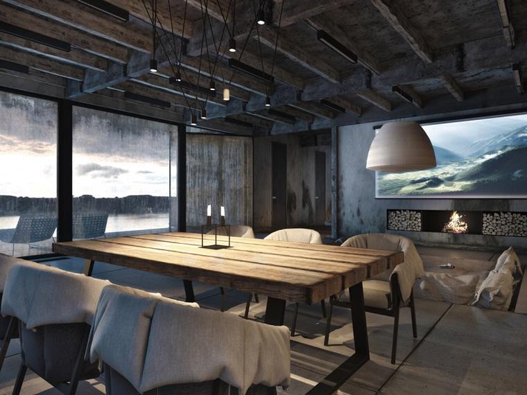 sala-da-pranzo-stile-rustico-industriale