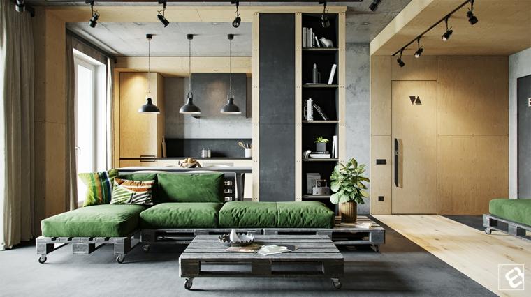 Mobili stile industriale, divano in pallet con ruote, box con cucina e tavolo da pranzo