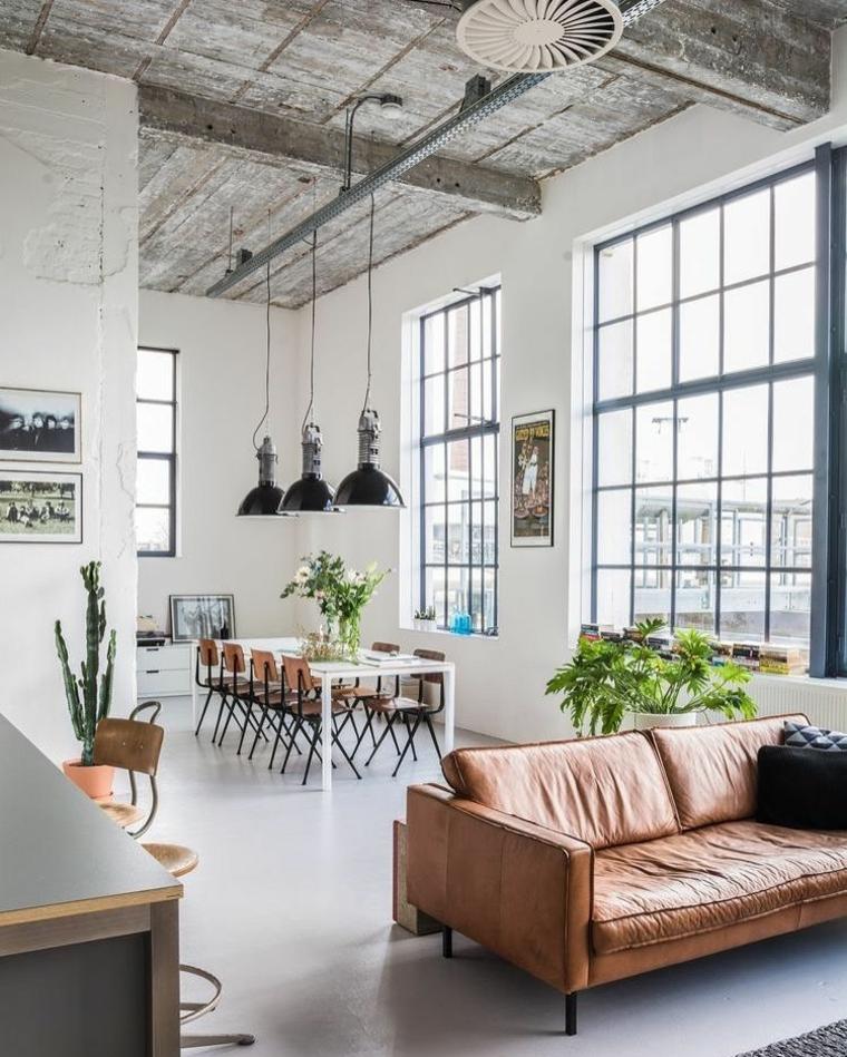 Mobili industriali vintage, open space soggiorno e sala da pranzo insieme, soffitto con travi di legno