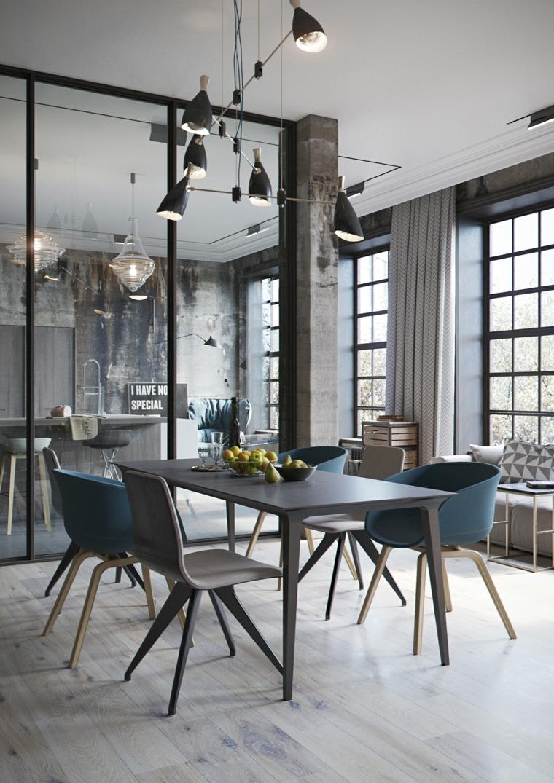 Salotto con tavolo da pranzo e sedie, mobili stile industriale, cucina con parete divisoria in vetro