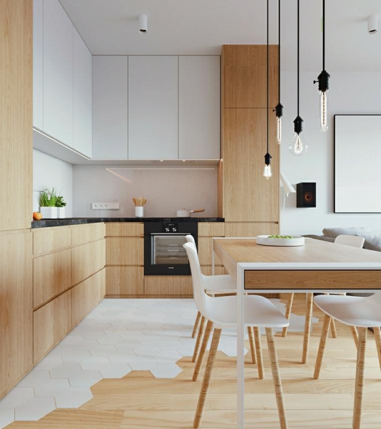 soggiorno con angolo cottura tavolo da pranzo con lampade sospese