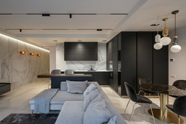 soluzioni per dividere soggiorno e cucina divano ad angolo grigio e tavolino basso di marmo
