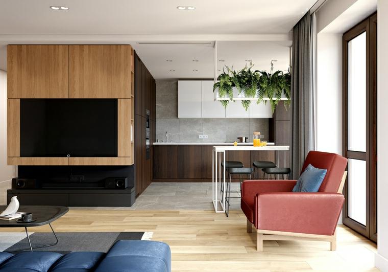 soluzioni per dividere soggiorno e cucina tavolo da pranzo con sgabelli tv incasso parete legno