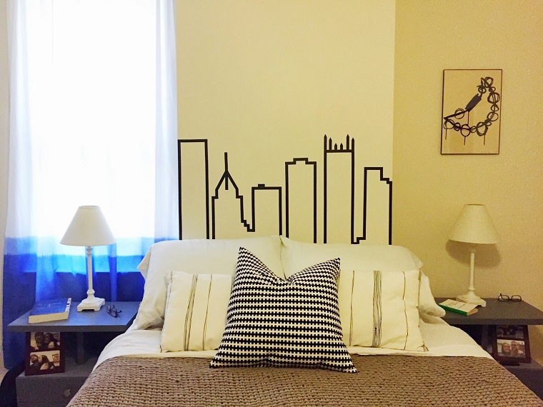 testiera letto fai da te-disegno-grattacielo