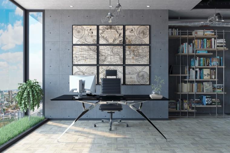 Scrivania con computer, ufficio in casa, arredamento moderno industrial