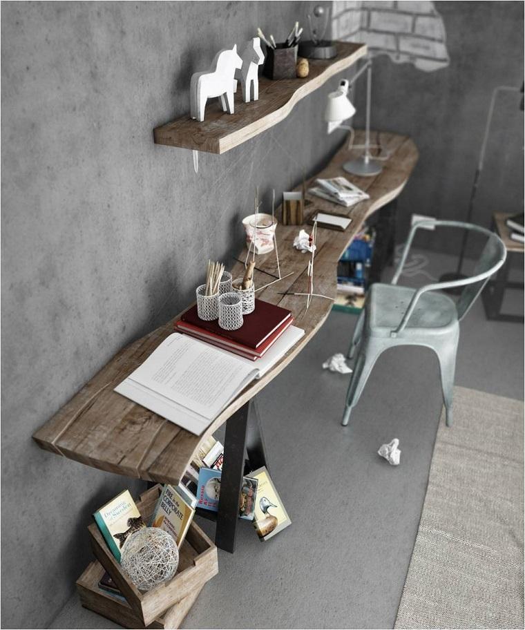 zona-lavoro-scrivania-legno-sedia-plastica