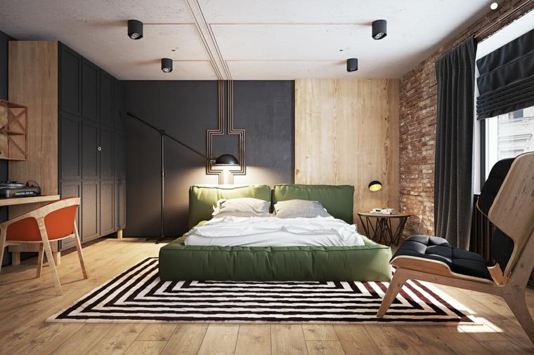 Dipingere camera da letto due colori, letto in tessuto verde, parete in legno, armadio con porte in legno