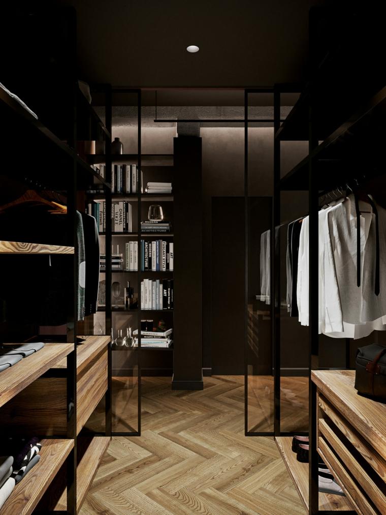 Arredamento moderno casa, stanza con cabina armadio, porta di vetro