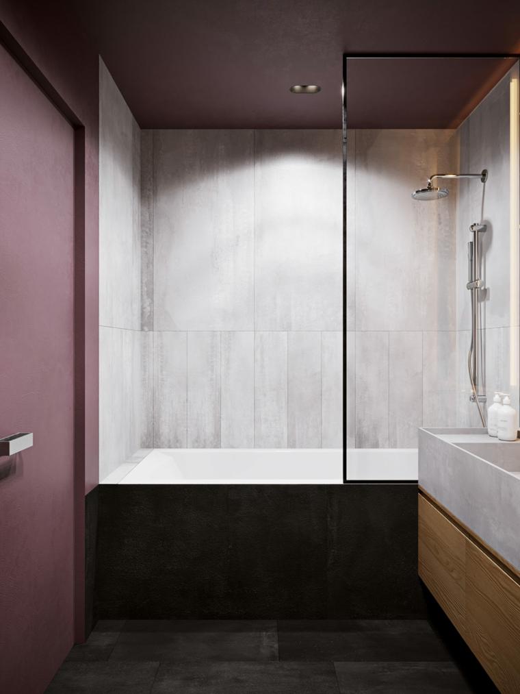 Come arredare la casa, bagno arredato con vasca, mobile lavabo in marmo
