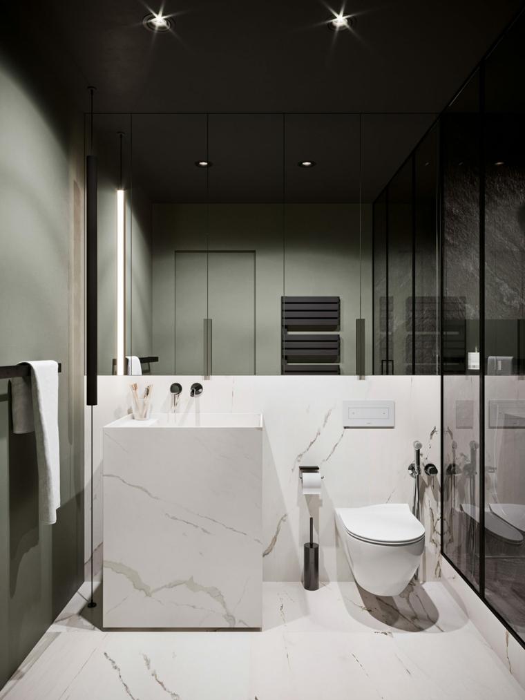 Bagno con mobili in marmo, rivestimento parete e pavimento in marmo