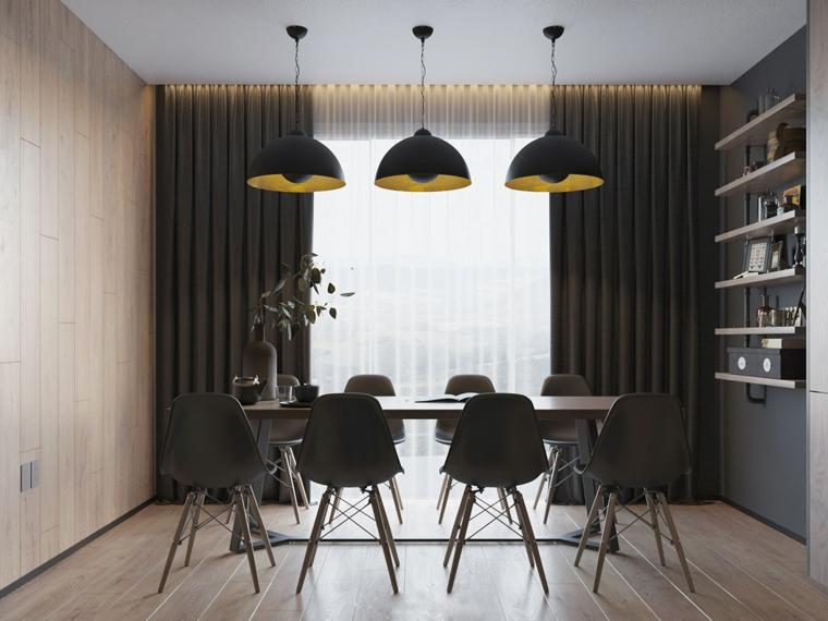 Come arredare la casa, sala da pranzo con tavolo di legno, illuminazione con tre lampade sospese