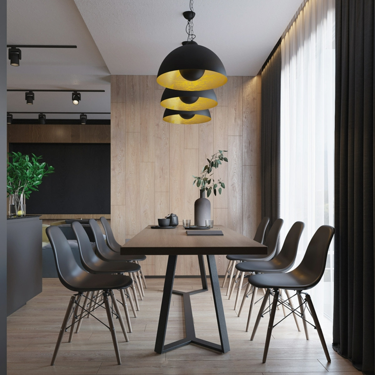 Come arredare la casa, sala da pranzo con mobili di legno, illuminazione con tre lampade