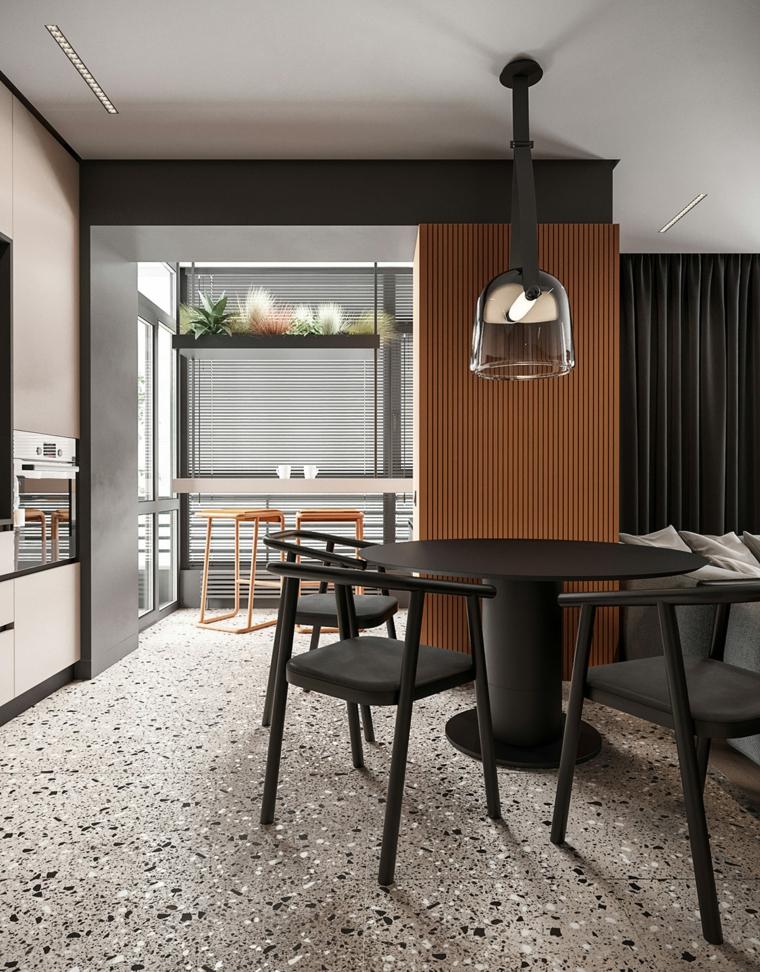 Come arredare la casa, open space sala da pranzo e soggiorno, tavolo rotondo e sedie