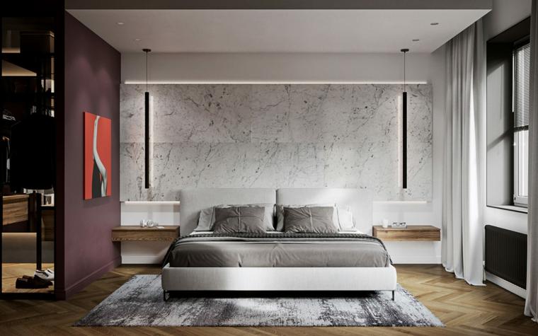 Idee arredamento camera da letto, zona notte con cabina armadio, parete effetto marmo