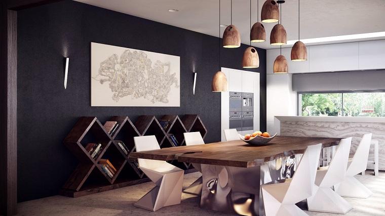 arredamento-rustico-sala-da-pranzo-tavolo-legno-lampadari