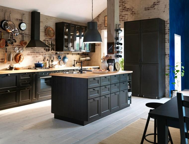 cucina arredata stile country mobili legno colore nero