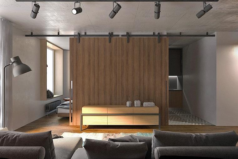 arredare un monolocale-idea-design-moderno-porta-scorrevole