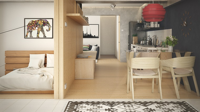 arredare un monolocale-mobili-legno