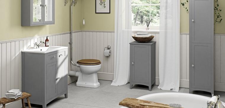 bagno grigio-arredamento-stile-vintage-mobili-legno