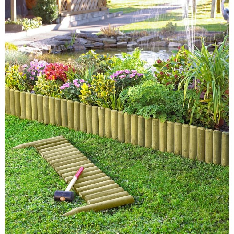 Bordure per aiuole in pietra e legno ecco le soluzioni pi originali - Aiuole giardino fai da te ...