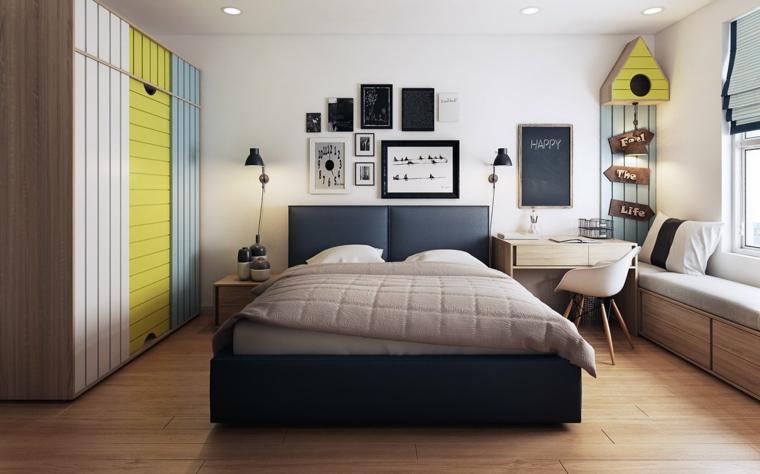 Idee arredamento camera da letto, letto con testata morbida, decorazione parete con quadri