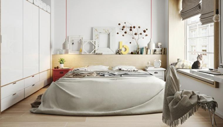 Idee arredamento camera da letto, mobili in legno colore chiaro, pavimento legno parquet