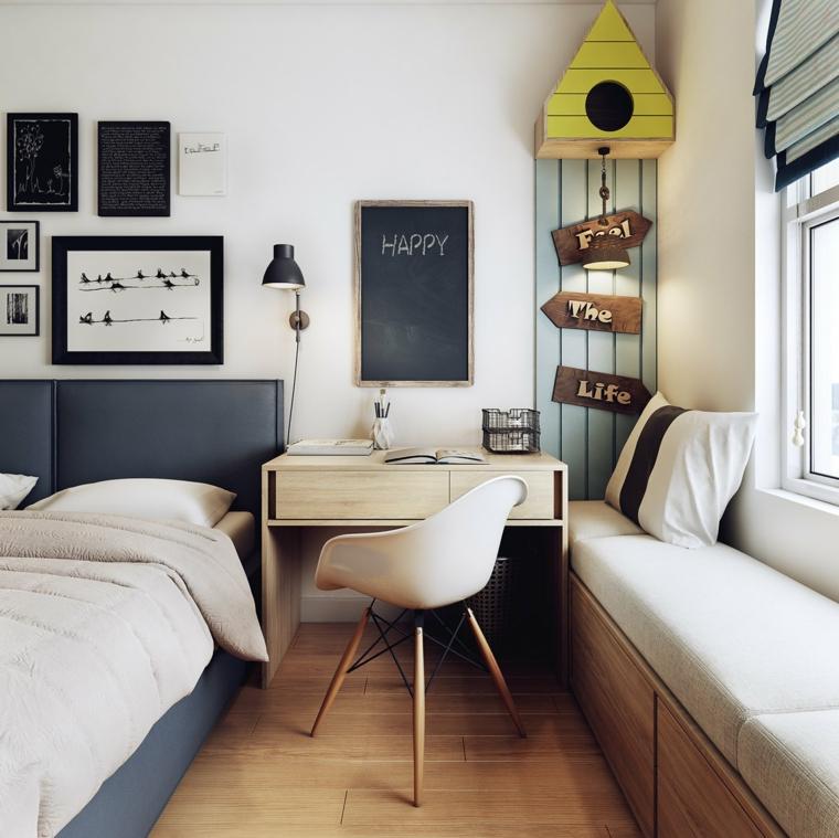 Idee arredamento camera da letto, scrivania con cassetto, testata letto morbida