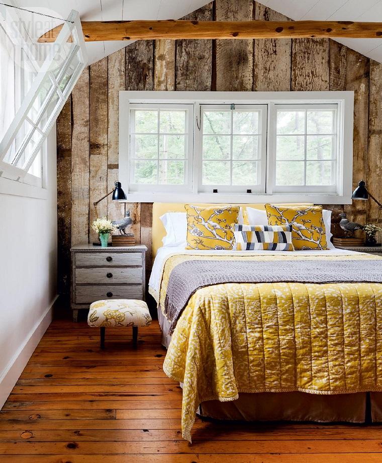 camere da letto country-parete-legno-pavimentazione