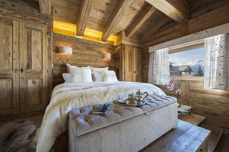 camere-da-letto-country-parete-soffitto-legno