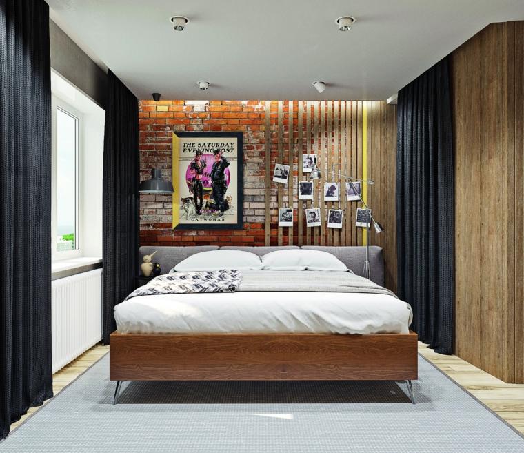 Come decorare pareti dietro letto, parete con mattoni a vista, decorazioni con quadro