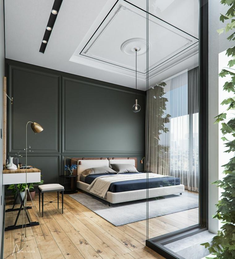 Parete di legno verde oliva, pavimento in legno parquet, parete dietro letto matrimoniale