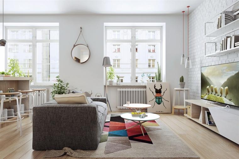 Arredamento moderno casa, soggiorno con divano grigio, parete con carta da parati
