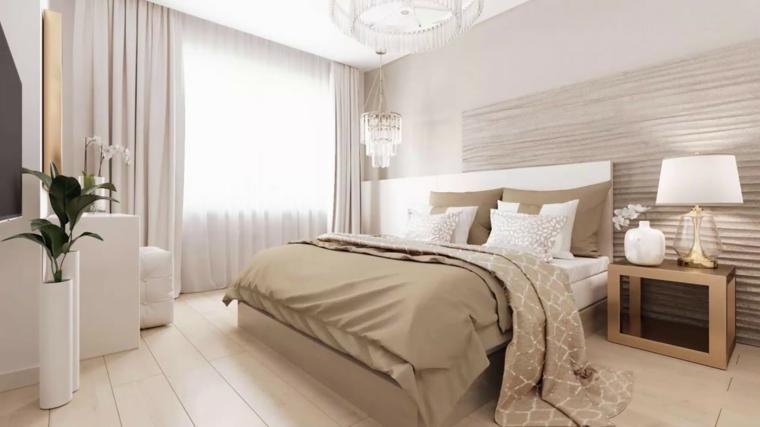 Colori rilassanti per camere da letto, parete in legno, lampadario in cristallo, mobile legno bianco