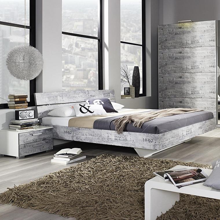 colori camera da letto-grigio-lampadario-design