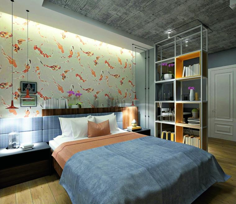 Testata letto in legno, parete divisoria in metallo, carta da parati colorata, camere matrimoniali moderne