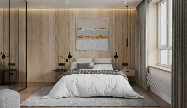 Parete dietro letto matrimoniale, parete di legno, camera da letto con armadio a muro