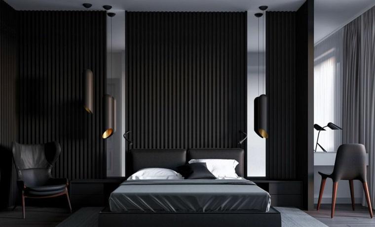 Zona notte con mobili in pelle, lampade sospese, parete legno nero, tinte pareti