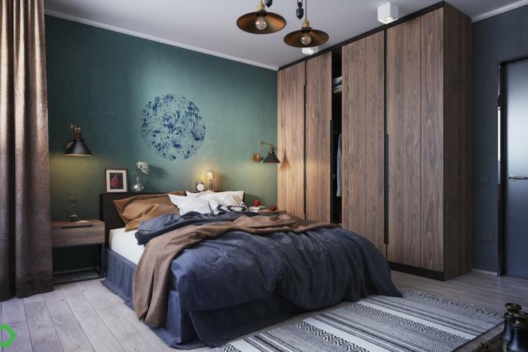 Armadio con porte di legno, parete verde con disegno, come pittura una stanza