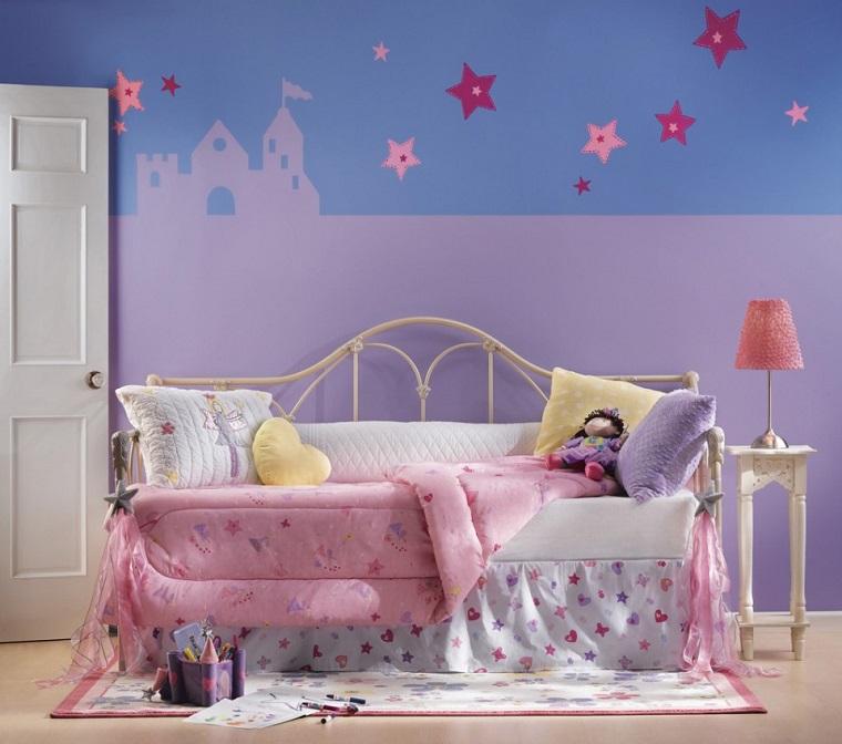 colori-pareti-camerette-blu-viola-stelle