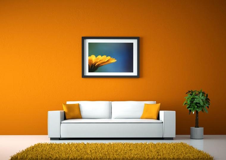 colori pareti casa-arancio-living-moderno